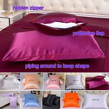 1pc 19 Momme 100% Pure Mulberry Silk Pillow Cases Cushion Covers Zipper Closure