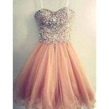 New Arrival Spaghetti Strap Tulle Beaded Short Coral Prom Dress Peach Prom Gown