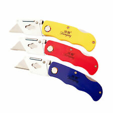 Folding Lock Back Utility Knife with 5 Replacement Blade Quick Change ABS Handle