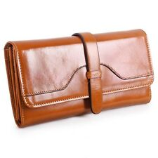Fashion Women Long Genuine Leather Wallet Strap Cowhide Purse Female Money Clip