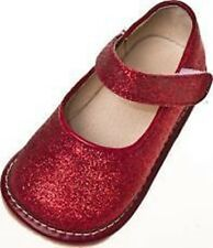 Girl's Toddler Red Leather Sparkle Mary Jane Squeaky Shoes Sizes 1 to 7