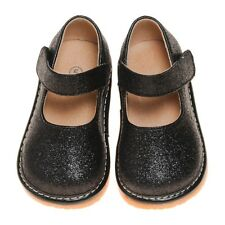 Girl's Leather Toddler Black Sparkle Mary Jane Squeaky Shoes Size 1 to 2