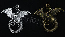 2/8/40pcs Tibetan Silver Exquisite Wings dragon Jewelry Charms Pendant 46x48mm