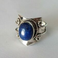 925 Solid Sterling Silver Ring Natural Lapis Lazuli Handmade US Size 4 to 13