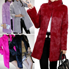 Genuine Rex Rabbit Fur Women's Long Coat Jacket Overcoat Stand Up Collar Garment