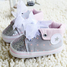 Toddler Baby Girl Gray Crib Shoes Soft Sole casual shoes 0-6 6-12 12-18Months
