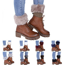 Women Winter Fur Leg Warmers Faux Fur Boot Cuffs Ankle Knee Boot Cuff Socks hng