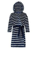 Boys M&S Marks And Spencer Blue Stripe Hooded Robe Dressing Gown 1.5-8 Yrs NEW