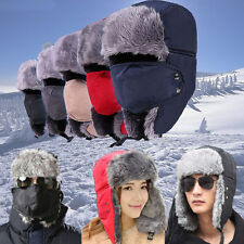 Unisex Mens Womens Motorcycle Trapper Aviator Cap Trooper Earflap Hats With Mask