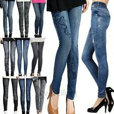 Women Solid Slim Skinny Printed Thin Denim Black Blue Fake Jeans Pencil Leggings