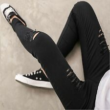 Women Spring Summer Woven Cotton Hole Ripped Jeans Gothic Wash Leggings