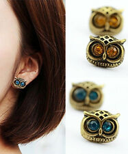Owl Rhinestone Women Retro Crystal Cute Stud Earrings Vintage bronze Blue Brown