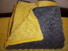 Handmade   Charcoal Grey and Yellow Minky blanket    Receiving or Crib/Toddler