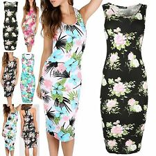 Womens Ladies Printed Bodycon Sleeveless Racer Muscle Vest Back Long Midi Dress