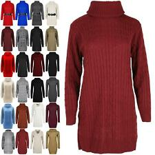Womens Cowl Neck Pullover Cable Ladies Knitted Oversized Jumper Mini Dress Top