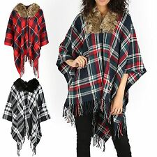 Ladies Womens Shawl TARTAN Poncho faux Fur Neck Trim Collar Cardigan Cape Scarf