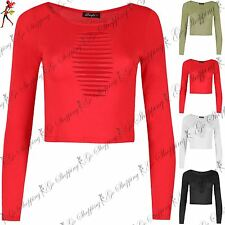 Ladies Long Sleeve Top Womens Cut Out Detail Jersey Crop Top Round Neck Bralet