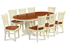 """OVAL DINETTE DINING ROOM TABLE CHAIR SET WOODEN SEAT W/. 18"""" LEAF"""
