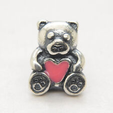 Authentic Genuine Sterling Silver pink heart European Charm bead