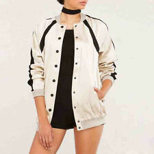 Women Color Block Coats Tops Casual Loose Button Front Bomber Jackets Outwear