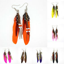 Women Feather Earrings Beads Dangle Eardrop Fashion Handmade Jewelry