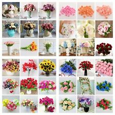 Artificial Fake Flower Leaf Peony Floral Bridal Wedding Bouquet Party Room Decor