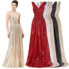 Sequins Womens Long Formal Evening COCKTAIL Dress Party Prom Pageant Gown Ball