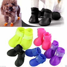 4Pcs Lovely Puppy Pet Rain Protective Boots Waterproof Dog Cat Anti-Slip Shoes
