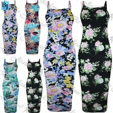 Womens Celeb Floral High Neck Summer Camisole Fitted Strappy Bodycon Midi Dress