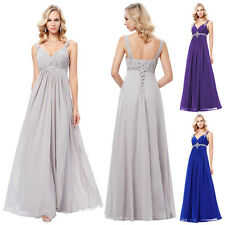 Women  V-Neck Chiffon Long Bridesmaid Ball Gown Evening Prom Party Dress Pageant