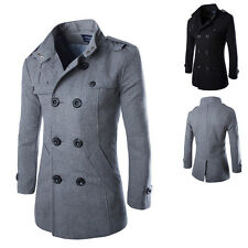 Warm Mens Winter Jacket Wool Blend Double Breasted Trench Coat Outerwear Peacoat