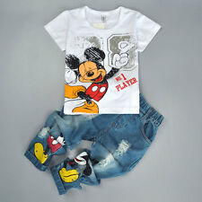2PCS Kids Baby Boys Mickey Mouse Short Sleeve T-Shirt Tops+Jeans Pants Outfits