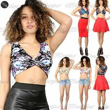 Women ladies Sleeveless Floral V Neck Wrap Twisted Stretchy Deep Plunge Crop Top