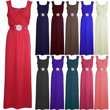 Ladies Womens Long Bridesmaid Party Cocktail Evening Prom Buckle Date Maxi Dress