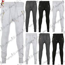 Mens Jogging Work Out Gym Bottoms Fleece Knitted Gold Side Pocket Waist Trouser