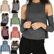 Womens Polo Neck Jumper Ladies Cold Shoulder Fine Knit Full Sleeve Cut Out Top