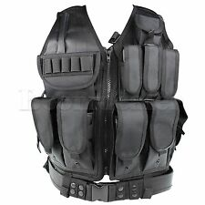 Military Tactical Airsoft Paintball CS MOLLE Mesh Vest W/ Holster Pouch Vests GY