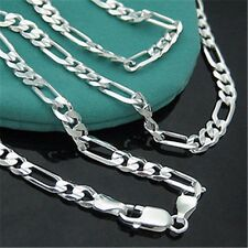 1PC Silver Chain Italy Figaro Necklace 16-30 inch 2mm Unisex Fashion Jewelry