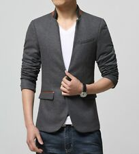 Men's Fashion Casual Slim One Button Stand Collar Suit Jacket Blazers Dress Coat