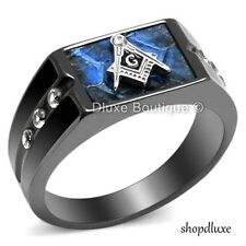 MEN'S BLUE AGATE CZ STAINLESS STEEL MASONIC LODGE FREEMASON RING SIZE 8-13