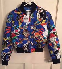 Moschino Couture Jeremy Scott Looney Tunes Blue Quilted Silk Bomber Jacket
