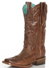 """Corral Ladies 11"""" Square Toe Leather Cowboy Western Boots Brown C2918"""