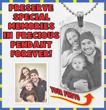 Personalized Photo and Text Engraving Dogtag Pendant Necklace Christmas Gift
