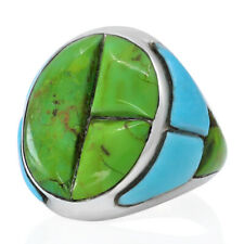 Handmade 925 Sterling Silver Green Turquoise Genuine Stone Men Ring Size 9 11 14