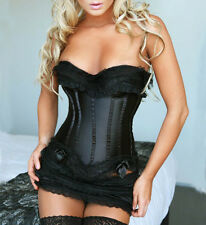 Wedding Bridal Black Overbust Boned Lace Up Bowknot Corset Bustiers G-string 1Ft