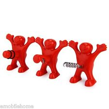 Kitchen Bar Red Fun Happy Man Wine Beer Soda Bottle Novelty Opener Stopper