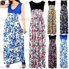 Ladies Womens Contrast V Neck Sleeveless Floral Roses Stretchy Ruched Maxi Dress