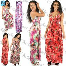 New Womens Ladies Sleeveless Floral Sheering Ruch Spring Coil Jersey Maxi Dress