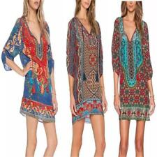 Hippie Boho Festival Gypsy Beach Dress Bohemian Casual Loose Party Mini Dress