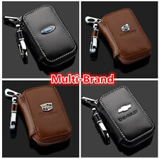 Multi-Brand Genuine Cow Leather Women Men Zip Car Key Bag Chain Ring Holder Case